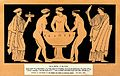 Three women at a wash-basin, on either side stand attendants Wellcome V0019994.jpg