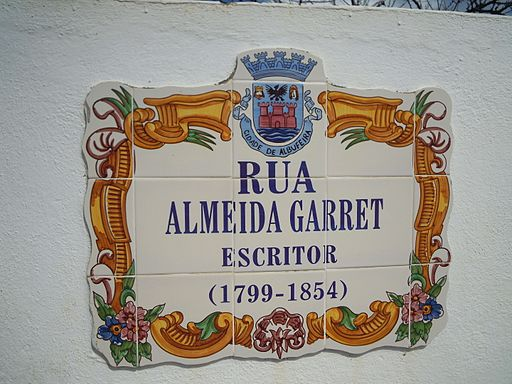Tile sign Rua Almeida Garret Albufeira 17 March 2015