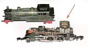 Z scale - Image: Tiny electric motor in a Z scale model locomotive