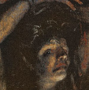 Flaying of Marsyas (Titian) - The head of Marsyas, inverted