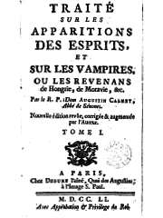 Title page to Don Calmet's Treatise