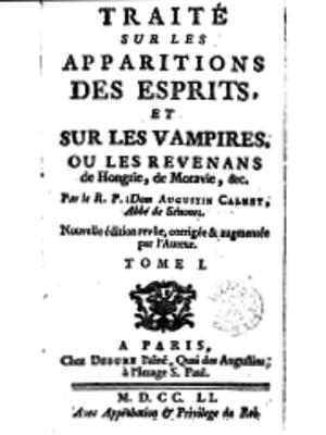 Traité sur les apparitions des esprits et sur les vampires ou les revenans de Hongrie, de Moravie, &c. - Title page of the first tome.