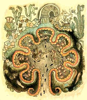 Aztlán - The seven caves of Chicomoztoc, from Historia Tolteca-Chichimeca