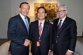 Tony Abbott Koya Nishikawa and Andrew Robb 20140317.jpg