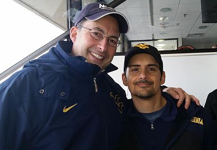 Tony Caridi interviewed country music star Brad Paisley at the WVU-TCU game on November 1, 2014 in Morgantown, WV. Tony Caridi & Brad Paisley.jpg