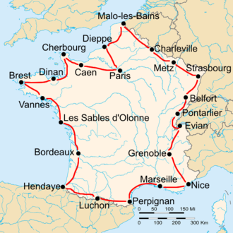 1928 Tour de France - Route of the 1928 Tour de France Followed counterclockwise, starting in Paris