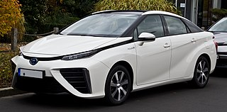 Toyota Mirai The Toyota Mirai is a hydrogen fuel cell vehicle. The Mirai was unveiled in 2014 at the Los Angeles Auto Show.