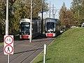 Tram 504 and Tram 510 meeting between Lubja tn and Lasnamae tn in Tallinn 2 October 2015.jpg