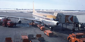 Transair (Canada) - Transair Boeing 707 at Edmonton International Airport