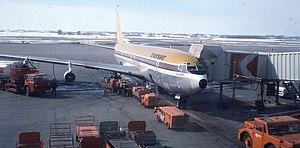 Transair (Canada) - Transair Boeing 707 at Edmonton International Airport