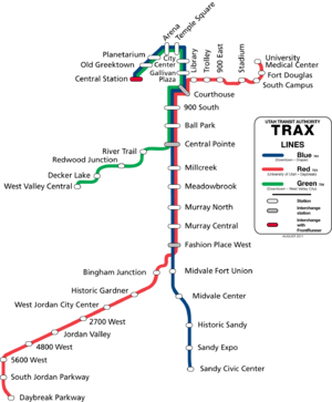 English: A map of the light rail system in Sal...