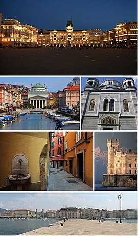 A collage of Trieste showing the Piazza Unità d'Italia, the Canal Grande, the Serbian Orthodox church, a narrow street of the Old City, the Castello Miramare and the city seafront.