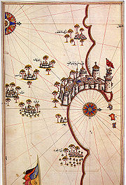 Early 16th century map of Tripoli by Piri Reis