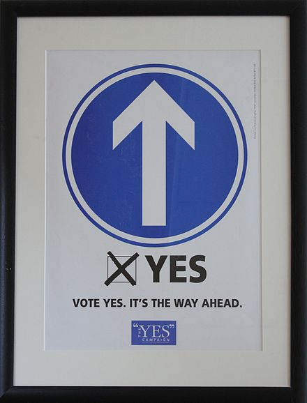 A 'Yes' campaign poster for the Good Friday Agreement during simultaneous referendums in Northern Ireland and in the Republic of Ireland. Troubled Images Exhibition, Belfast, August 2010 (42).JPG