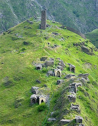 Nakh peoples - Necropolis in Itum Kale (Chechnya), and tower of Tsoi-Pheda protecting the peace of the dead
