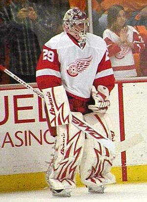 Ty Conklin - Conklin warming up with the Detroit Red Wings in the 2008-09 season