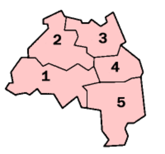 Civil parishes in Tyne and Wear - A map of Tyne and Wear, showing the Metropolitan Boroughs: (1) Gateshead; (2) Newcastle upon Tyne; (3) North Tyneside; (4) South Tyneside; and (5) Sunderland.