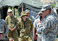 U.S. Army Gen. P.K. Keen, commanding general of Joint Task Force Haiti, talks to U.S. Airmen from the 24th Air Expeditionary Group and Australian airmen March 15, 2010, before they leave Port-au-Prince, Haiti 100315-N-HX866-006.jpg