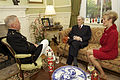 U.S. Marine Corps Gen. James F. Amos, left, the commandant of the Marine Corps, and his wife, Bonnie, talk with retired U.S. Sen. John Warner, a former secretary of the Navy and the Evening Parade guest 130503-M-LU710-011.jpg