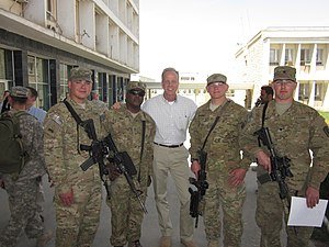 Jerry Moran - U.S. Senator Jerry Moran with Kansans serving in Afghanistan in April 2011.