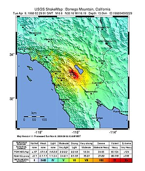 San Jacinto Fault Zone - ShakeMap showing the intensity of the 1968 Borrego Mountain earthquake