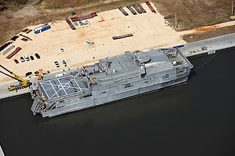 Spearhead-class expeditionary fast transport - The Expeditionary Fast Transport USNS Choctaw County (EPF-2) awaits delivery at the Austal USA vessel completion yard.