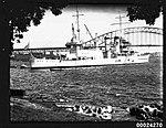 USS ASTORIA at anchor in Farm Cove, Sydney (8557780675).jpg