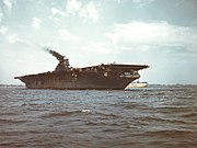 USS Franklin (CV-13) anchored off New York City on 28 April 1945 (80-G-K-4771)