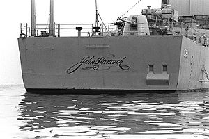 John Hancock - Hancock's famous signature on the stern of the destroyer USS ''John Hancock''