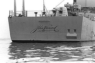 USS John Hancock (DD-981) - Unique naming on stern of John Hancock
