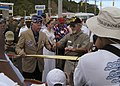US Navy 040721-N-6346B-072 Retired WWII veteran, U.S. Marine Corps Colonel Fraser West, left, prepares to cut the ribbon officially renaming Guam's Route 1, Marine Corps Drive.jpg