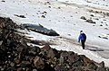 US Navy 040807-N-0331L-008 Lt. Cdr. Christopher Blow walks across the snow to examine the wreckage of a Navy P-2V Neptune aircraft that crashed over Greenland in 1962.jpg