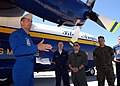 US Navy 050402-N-1328C-522 Major Stefan Mueller gives a preflight brief prior to the launch of the U.S. Marine Corps C-130 Hercules, Fat Albert, assigned to the U.S. Navy Blue Angels flight demonstration team.jpg