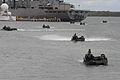 US Navy 100702-N-9500T-227 Vehicles from Armored Assault Vehicle Platoon, Combat Assault Company, 3rd Marine Regiment, make their way to the Royal Australian Navy amphibious ship HMAS Kanimbla (L 51).jpg