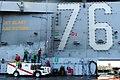 US Navy 110809-N-YQ852-137 Sailors scrub down the island superstructure on the flight deck of USS Ronald Reagan (CVN 76).jpg