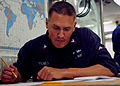 US Navy 120119-N-ZF681-252 Yeoman 1st Class Anna Howeth takes the navy-wide chief petty officer advancement exam aboard the guided-missile destroye.jpg