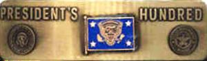 President's Hundred Tab - Image: US Navy Presidents Hundred Metallic Brassard