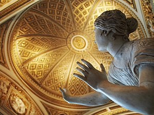 Uffizi - Restored Niobe room represents Roman copies of late Hellenistic art. View of daughter of Niobe bent by terror.