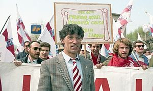 Italian general election, 1992 - Umberto Bossi at the first Northern League rally in Pontida, 1990.