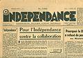 Une du premier numéro du journal Indépendance du 1er février 1951.jpg
