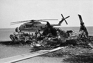 Operation Eagle Claw - US burned helicopter