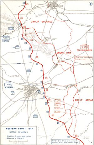 Carrière Wellington - Frontline at Arras immediately prior to the assault.