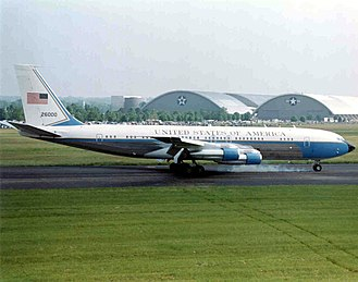 Boeing 707 SAM 26000 served Presidents Kennedy to Clinton, and was the primary transport from Kennedy to Nixon. VC-137-1 Air Force One.jpg