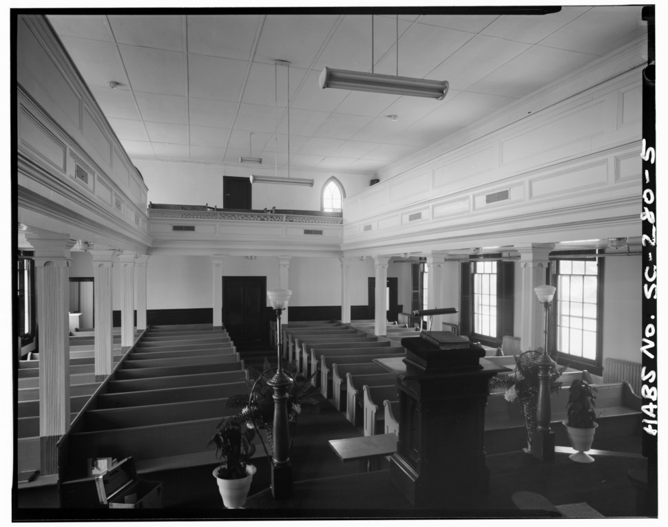 VIEW OF NAVE LOOKING WEST - First African Baptist Church (circa 1865), 601 New Street, Beaufort, Beaufort County, SC HABS SC,7-BEAUF,28-5