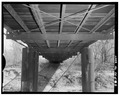 VIEW TO THE NORTHEAST, PIERS AND BOTTOM OF TRUSS - Hominy Creek Bridge, Spanning Hominy Creek, Hominy, Osage County, OK HAER OKLA,57-HOM.V,1-8.tif