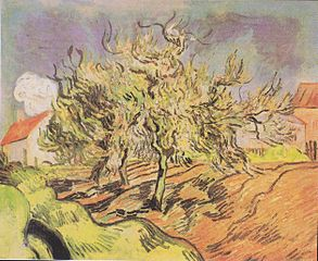Landscape with three trees and houses