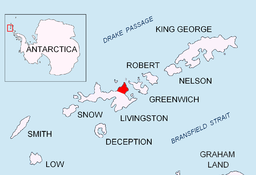 Plasseringa til Varna Peninsula on Livingston Island in the Sør-Shetlandsøyane.