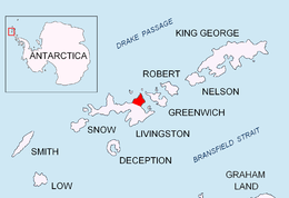 Location of Varna Peninsula on Livingston Island in the South Shetland Islands.