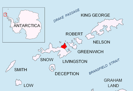 Location of Varna Peninsula on Livingston Island in the South Shetland Islands. Varna-Peninsula-location-map.png
