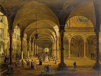 Antonio Basoli - Image: Veduta del portico di Santa Maria dei Servi